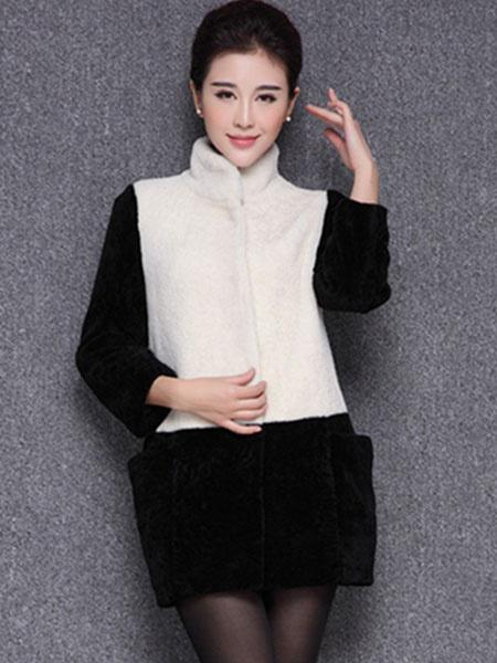 Damen Kunstpelz Mantel mit Stehkragen und Farbblock in Weißfür Alltag