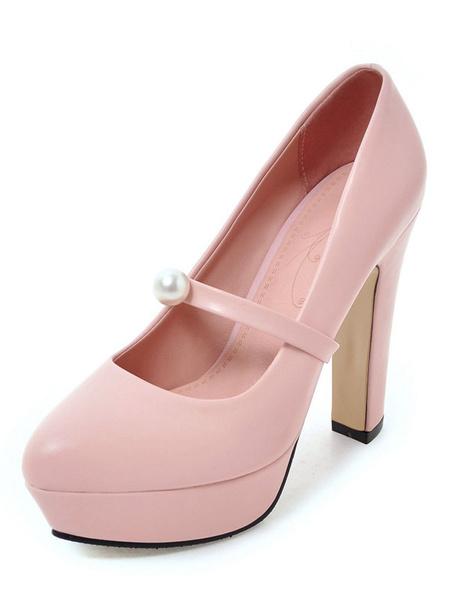Platform High Heels Women's Round Toe Pearls Decor Chunky Heel Pump Shoes фото