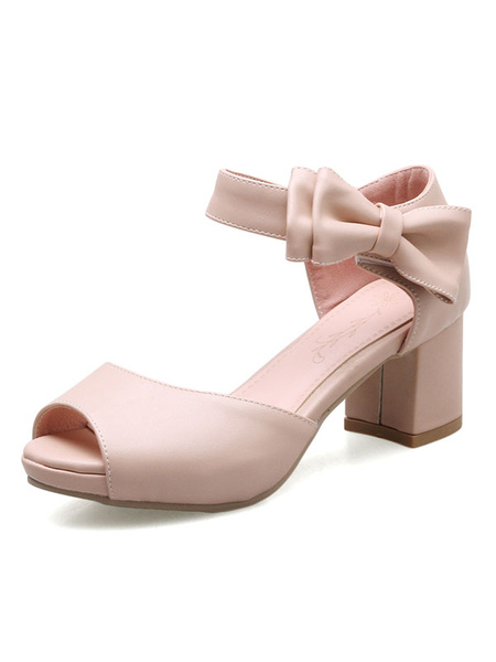 Women's Pink Sandals Peep Toe Ankle Strap Bows Chunky Heel Sandal Shoes