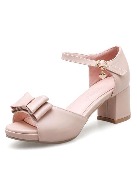 Women's Pink Sandals Chunky Heel Peep Toe Bow Buckles Sandal Shoes