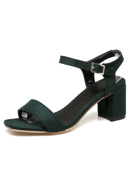 Suede Sandal Shoes Women's Square Toe Adjustable Strap Buckled Chunky Heel Sandals