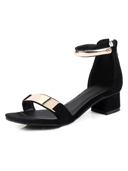 Black Sandal Shoes Suede Chunky Heel Open Toe Metallic Ankle Strap Summer Sandals