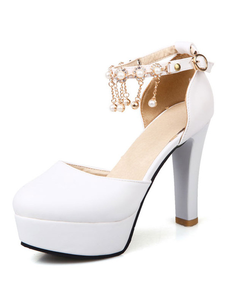 Women's Platform Pumps Round Toe Ankle Strap Pearls Detail Chunky High Heel Shoes