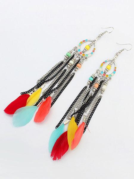 Boho Dangle Earrings Feathers Fringed Beaded Ethnic Style Hook Earrings фото