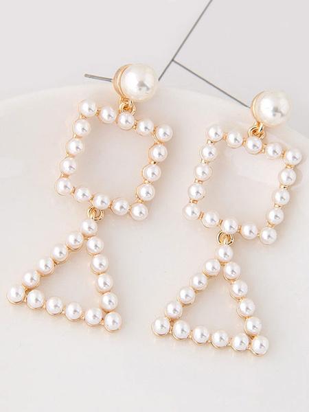 Ohrringe Elegant Perlen Perlen geometrische Muster Anweisung Ohrringe