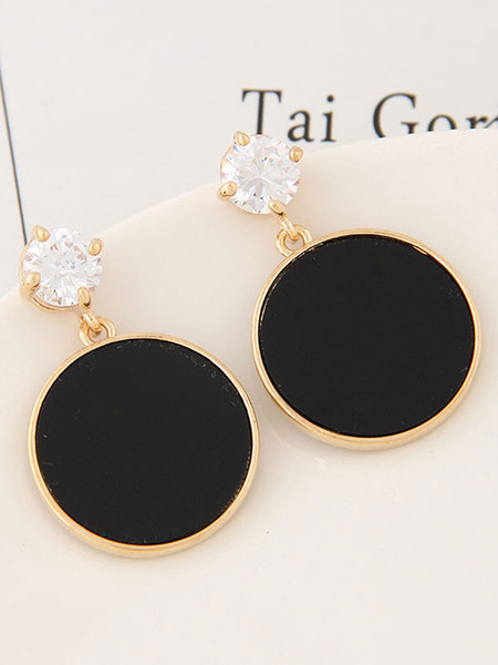 Black Drop Earrings Rhinestones Round Pattern Stud Earrings For Women фото