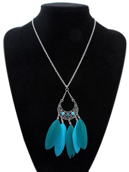 Boho Pendant Necklace Women's Blue Feathers Detail Necklace