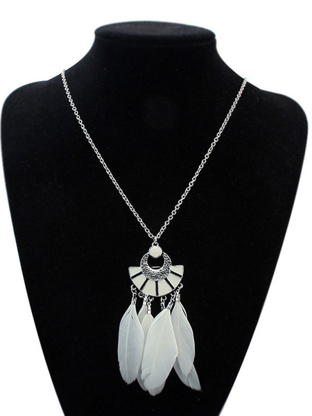White Pendant Necklace Boho Cut Out Feathers Detail Long Necklace For Women