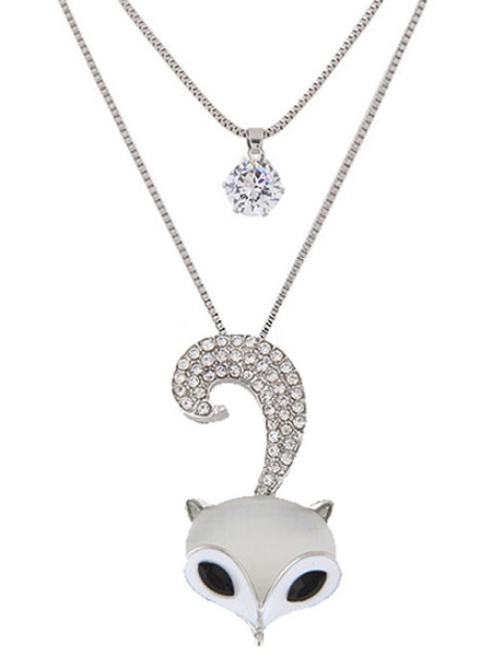 Silver Pendant Necklace Women's Animal Shape Long Necklace фото