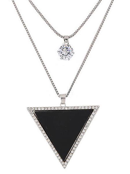 Black Pendant Necklace Women's Rhinestones Triangle Long Necklace фото