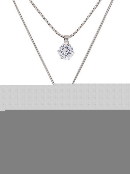 Silver Pendant Necklace Rhinestones Cherry Detail Tiered Necklace фото