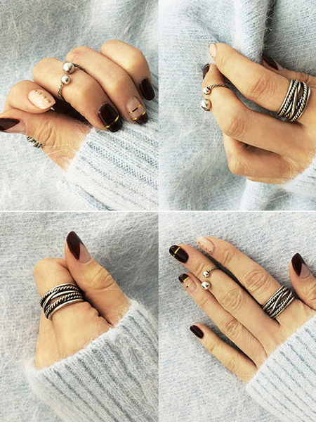 Women's Knuckle Rings Silver Retro Rings In 2 Piece Set фото