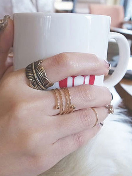 3pcs Rings Set Retro Alloy Open And Wrap Stylish Ring Combo