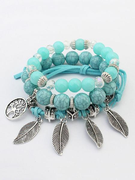 Boho Strand Bracelet Women's Beaded Leaf Fringes Alloy Chic Bracelet
