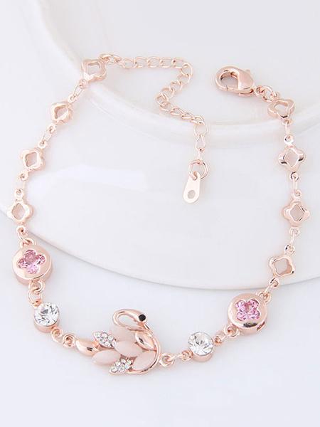 Armband für Damen Metall in Golden mit Tier-Formen Design Armkette im eleganten Stil und Kunstdiaman