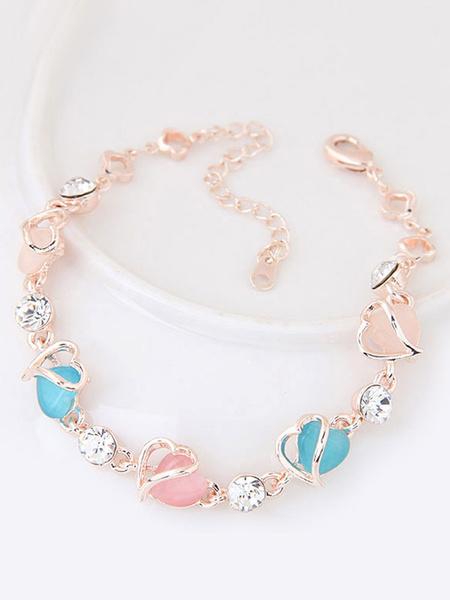 Rose Gold Bracelet Sweetheart Gems Beaded Rhinestones Sweet Strand Bracelet