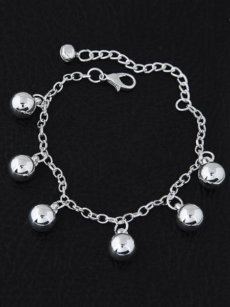 Silver Charm Bracelet Chain Ball Women's Clasp Bracelet фото