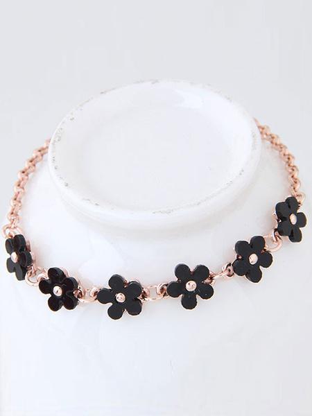 Armband für Damen mit Blumen-Deko in Schwarz Armkette Blumen im schicken & modischen Style für Ball