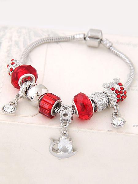 Armband für Damen Metall in Rot Halskette im schicken & modischen Style mit Kunstdiamanten für Damen