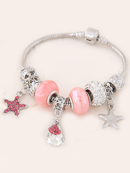 Armband für Damen mit Kunstdiamanten in Rosa Armkette Drops Design im schicken & modischen Style für