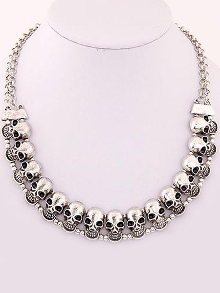 Stilvolle Halskette für Damen Halskette für Abend mit Skull-Deko und Skull-Deko im Retro-Style Metal