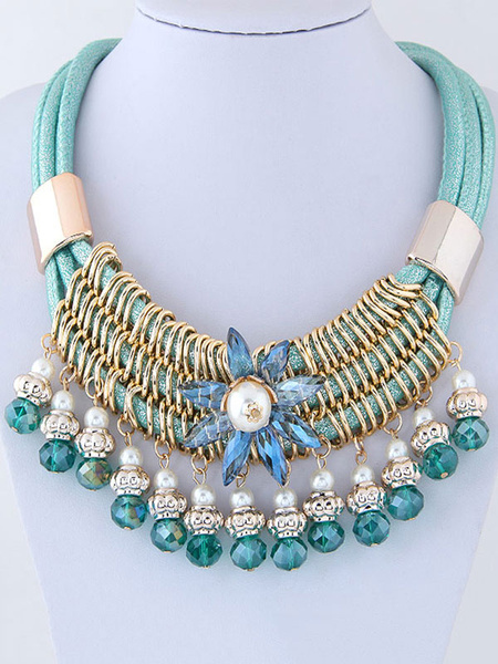 Blue Statement Necklace Flower Women's Beaded Pearl Layered Collar Necklace фото