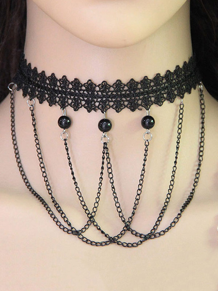 Black Choker Necklace Lace Chain Tassels Beaded Gothic Women's Vintage Necklace фото