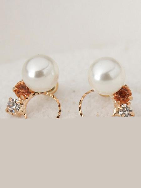 Gold Stud Earrings Elegant Pearl Rhinestones Beaded Ear Pins For Women фото