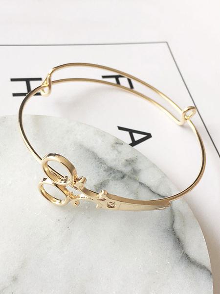 Golden Bracelet Watch Women's Scissor Shape Alloy Stylish Open Bracelet