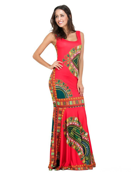 Red Maxi Dress Boho Jewel Neck Sleeveless Printed Cotton Long Dress For Women, Green;ture red