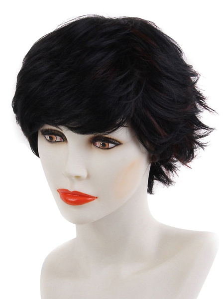 Black Hair Wigs Women's Layered Short Synthetic Wigs With Bangs