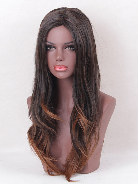 Tan Hair Wigs Women's Long Curly Tousled Side Parting Synthetic Wigs With Plastic Netting Cap