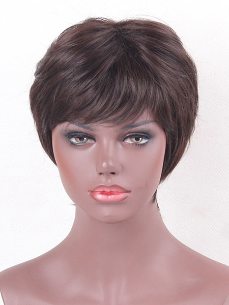 Short Hair Wigs Women's Deep Brown Side Swept Bang Natural Wave Tousled Straight Synthetic Wigs