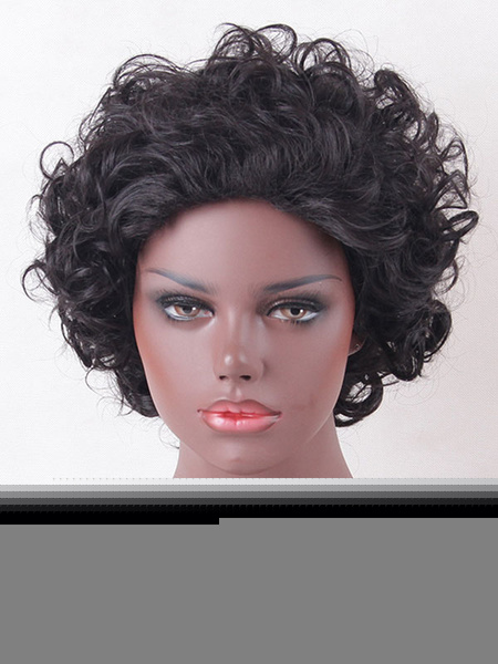 Black Hair Wigs African American Tousled Curly Shoulder Length Synthetic Wigs