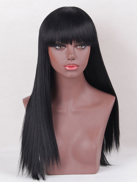 Black Hair Wigs Women's Heavy Bang Long Straight Tousled Synthetic Wigs