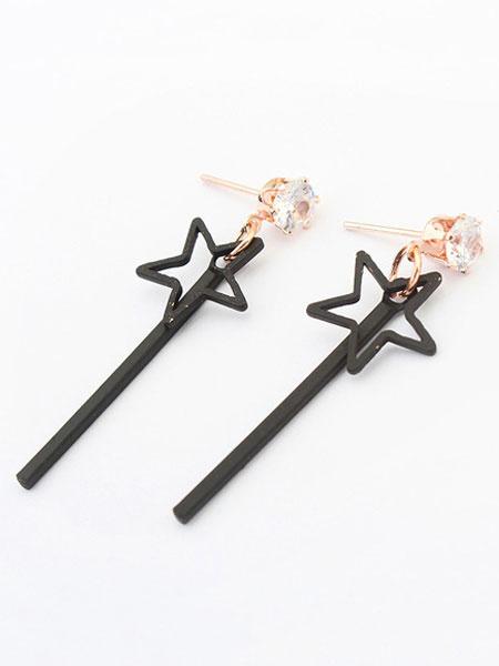 Black Dangle Earrings Star Liner Rhinestone Drop Earrings For Women фото