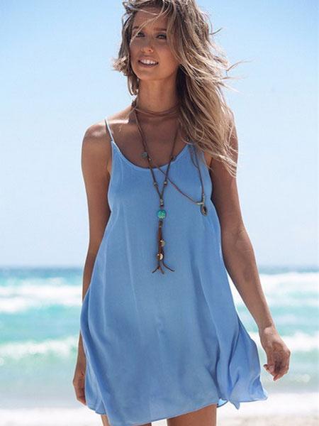 Blue Slip Dress Women's Spaghetti Strap Round Neck Pleated Backless Criss Cross Summer Dress фото