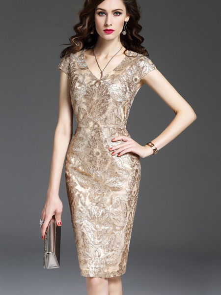 Apricot Bodycon Dress Women's V Neck Cap Sleeve Embroidered Shaping Wrap Dress фото