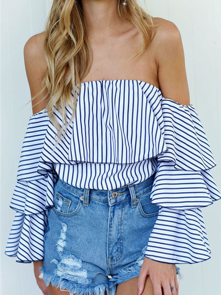 Women's Blue Blouse Off The Shoulder Long Flared Sleeve Tiered Design Stylish Top фото