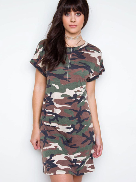 Women's T Shirt Dress Hunter Green Round Neck Short Sleeve Camo Printed Shift Dress
