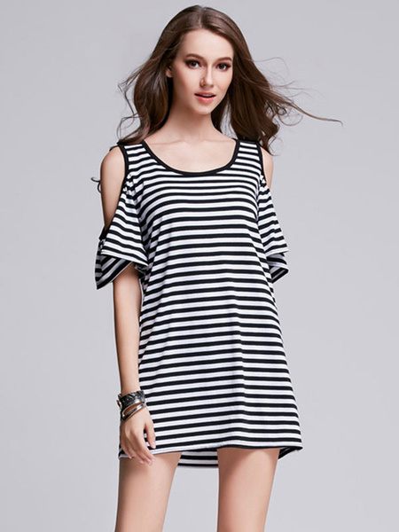 Black T Shirt Dress Jewel Neck Short Sleeve Cold Shoulder Striped Shift Dress