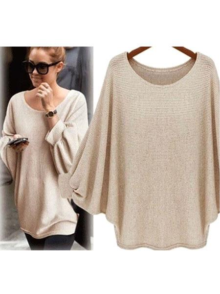 Женская пуловер свитер Jewel шея Batwing с длинным рукавом вязать свитер