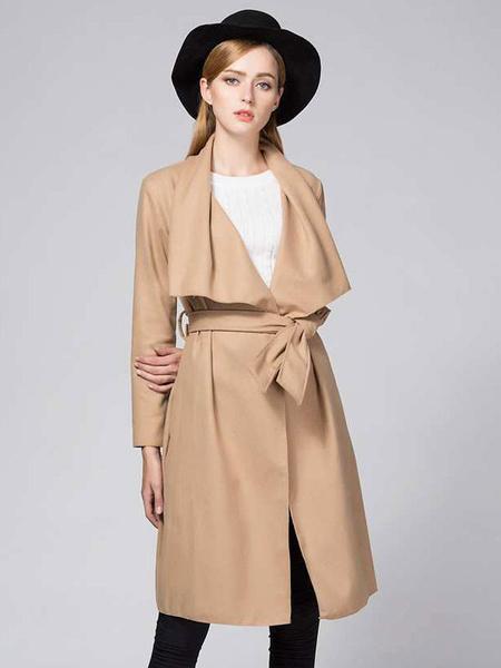 Women's Wrap Coat Camel Turndown Collar Long Sleeve Cotton Belted Longline Winter Coat фото