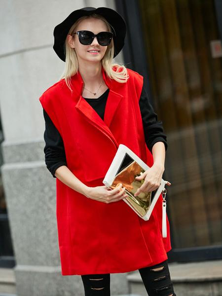 Women's Longline Vest Red Cotton Button Sleeveless Coat