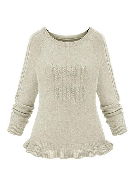 Milanoo / Casualer Pullover aus mit Rundkragen und Stricker und Rüschen