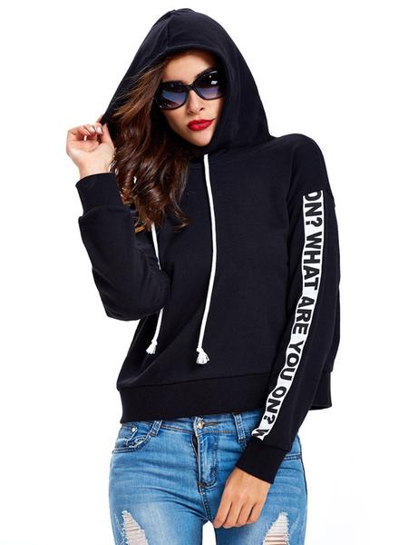 Women's Black Hoodie Long Sleeve Drawstring Two Tone Letter Printed Casual Sweatshirt