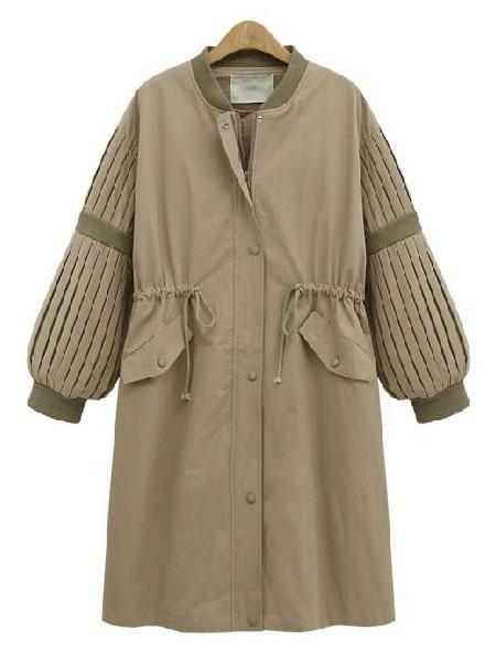 Women's Apricot Overcoat Cotton Filling Stand Collar Rib Knit Cuff Waist Drawstring Color Block Casu фото