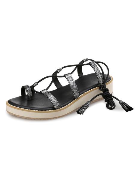 Leather Gladiator Sandals Women's Toe Ring Lace Up Tassel Platform Sandal Shoes