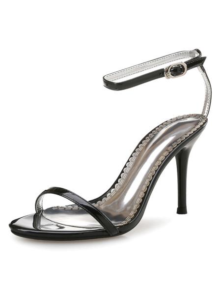 Part Sandals Strap Sandal Black Ankle Toe Open High Heel Shoes Two Lcj354ARSq