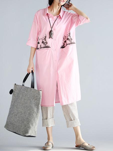 Pink Shirt Dress Oversized Turndown Collar Half Sleeve Animal Printed Shift Dress фото